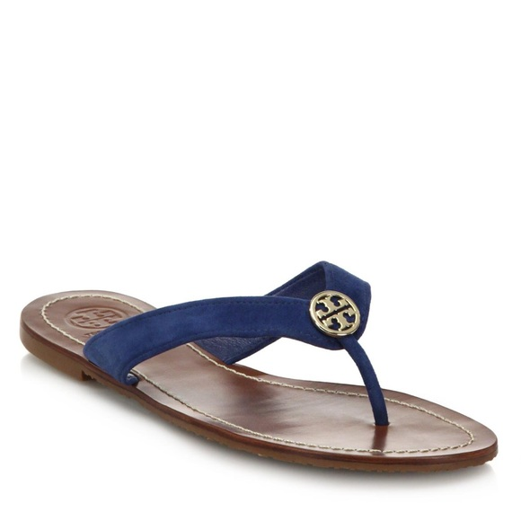 b4098eac8e7 Tory Burch Thora 2 Blue Suede Thong Sandal. M 5c3e6db9e944ba394abd243a